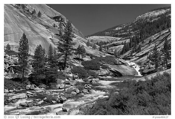 River flowing in smooth granite canyon. Yosemite National Park (black and white)