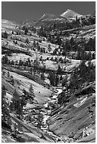 Landscape of smooth granite with flowing Merced. Yosemite National Park, California, USA. (black and white)