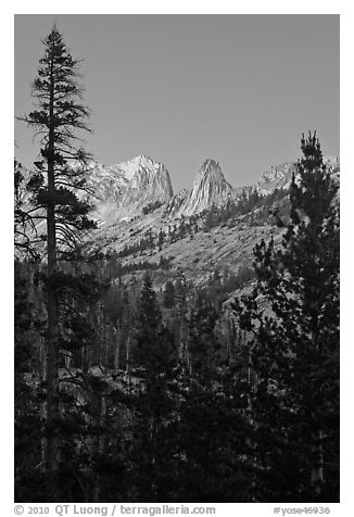 Spires of Matthews Crest at dusk. Yosemite National Park (black and white)