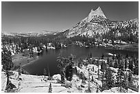 Upper Cathedral lake and Cathedral Peak, mid-day. Yosemite National Park ( black and white)