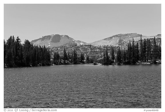 Lower Cathedral Lake. Yosemite National Park (black and white)