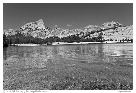 Lower Cathedral Lake and Cathedral range. Yosemite National Park (black and white)