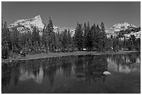 Cathedral range reflected in stream. Yosemite National Park ( black and white)