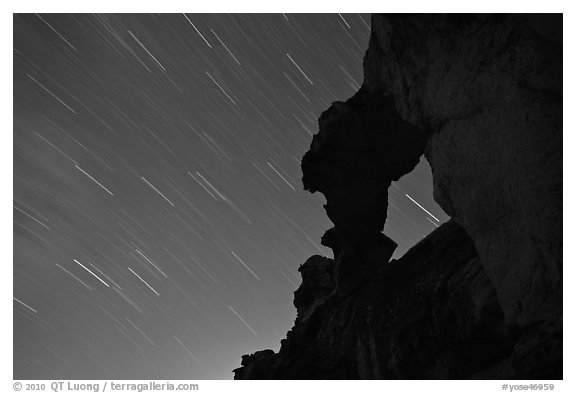 Indian Arch and stars. Yosemite National Park (black and white)