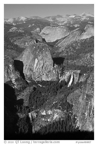 Merced River drainage with Nevada and Vernal Falls. Yosemite National Park (black and white)