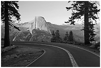 Road and Half-Dome. Yosemite National Park ( black and white)