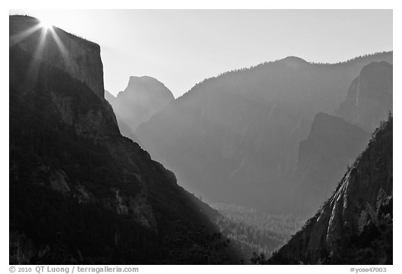Sun, El Capitan, and Half Dome from near Inspiration Point. Yosemite National Park (black and white)