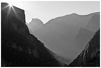 Sun, El Capitan, and Half Dome from near Inspiration Point. Yosemite National Park, California, USA. (black and white)