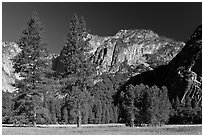 Ahwanhee Meadow, summer. Yosemite National Park ( black and white)