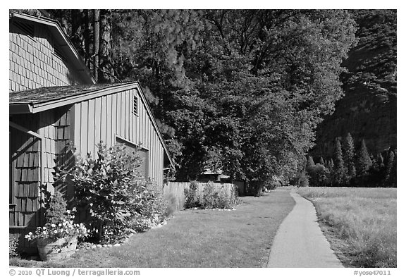 Residences at Ahwanhee Meadow edge, summer. Yosemite National Park (black and white)