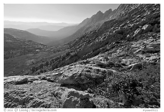 McCabe Creek from McCabe Pass, late afternoon. Yosemite National Park (black and white)
