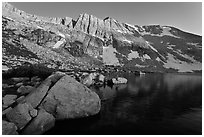 Shore of Upper McCabe Lake with North Peak at sunset. Yosemite National Park ( black and white)