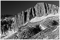 Craggy face of North Peak mountain. Yosemite National Park, California, USA. (black and white)