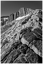 Sierra Nevada Crest Ridge leading to  North Peak. Yosemite National Park, California, USA. (black and white)