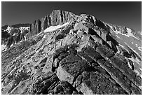 Rocky ridge and North Peak. Yosemite National Park, California, USA. (black and white)