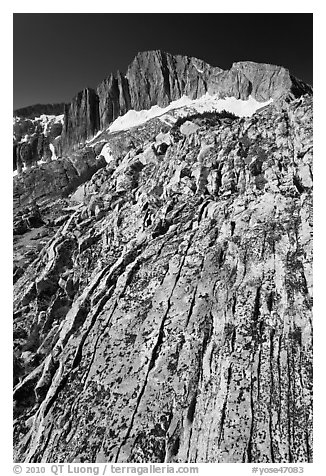 Colorful rock and North Peak. Yosemite National Park (black and white)