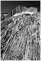 Colorful rock and North Peak. Yosemite National Park, California, USA. (black and white)