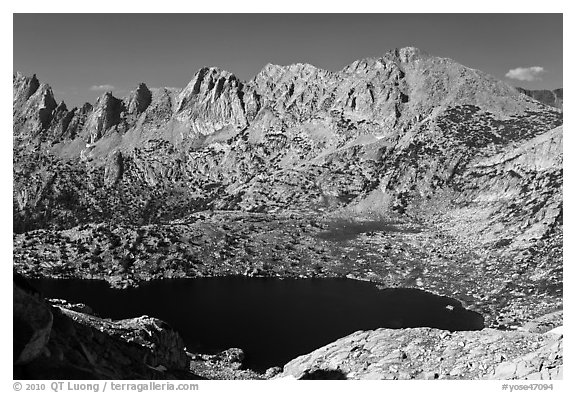 Shepherd Crest and Upper McCabe Lake from above. Yosemite National Park (black and white)