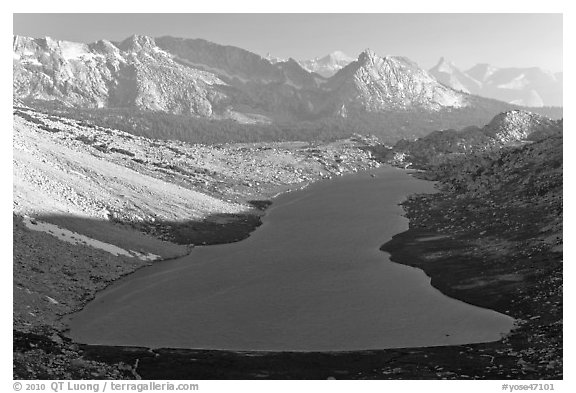 Roosevelt Lake from above, late afternoon. Yosemite National Park (black and white)