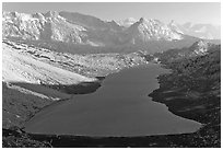 Roosevelt Lake from above, late afternoon. Yosemite National Park ( black and white)