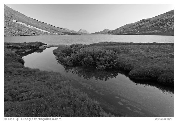 Stream and Roosevelt Lake at sunset. Yosemite National Park (black and white)