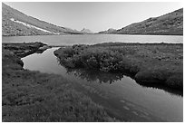 Stream and Roosevelt Lake at sunset. Yosemite National Park ( black and white)