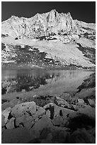 Craggy Peak and Sierra lake. Yosemite National Park ( black and white)