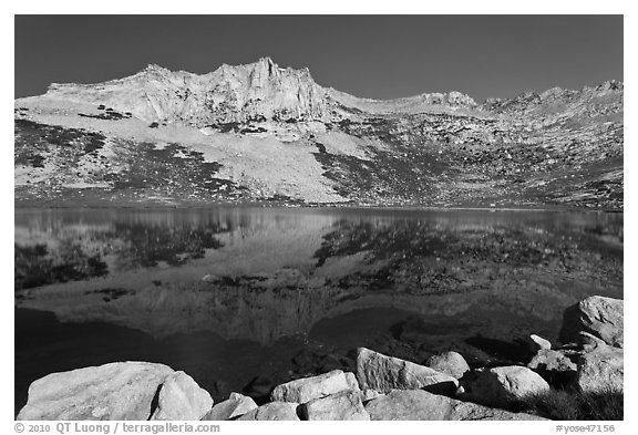 Rugged mountain reflected in Sierra Lake. Yosemite National Park (black and white)