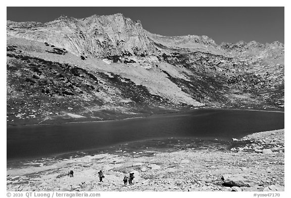 Family backpacking in Sierra Nevada mountains. Yosemite National Park (black and white)