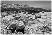 Boulders, slabs, and Ragged Peak. Yosemite National Park, California, USA. (black and white)