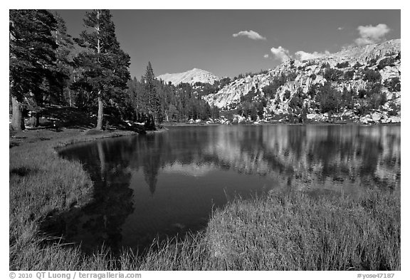 Middle Young Lake. Yosemite National Park (black and white)