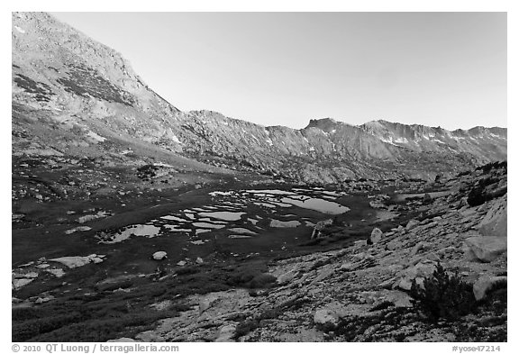 High valley at sunset. Yosemite National Park (black and white)
