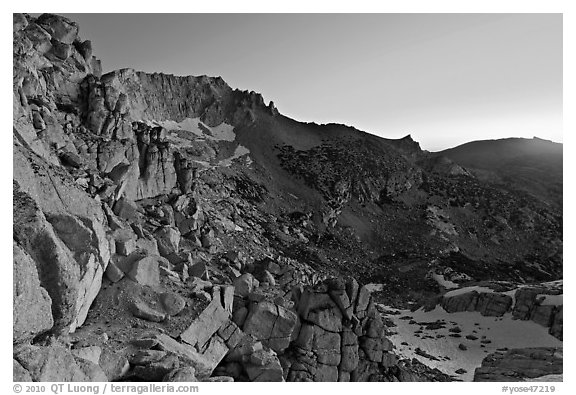 East amphitheater of Mount Conness at dawn. Yosemite National Park (black and white)
