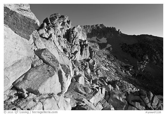Rocky slopes and Mount Conness, sunrise. Yosemite National Park (black and white)