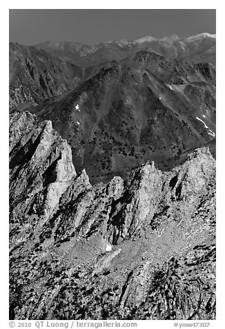 Shepherd Crest and distant mountains. Yosemite National Park (black and white)