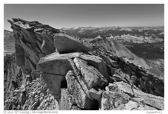 Top of Mount Conness. Yosemite National Park (black and white)