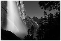 Double spray lunar rainbow, Upper Yosemite Falls and Half-Dome. Yosemite National Park, California, USA. (black and white)