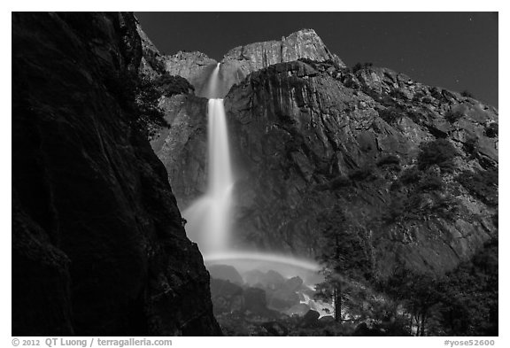 White rainbow at the base of Yosemite Falls. Yosemite National Park (black and white)