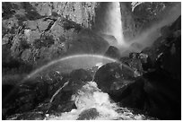 Afternoon rainbow, Bridalveil Fall. Yosemite National Park, California, USA. (black and white)