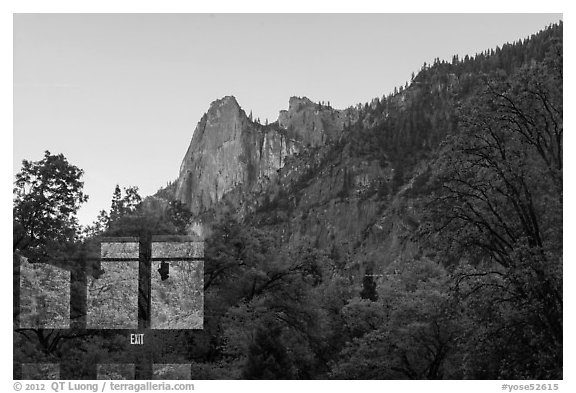 Sentinel Rock, Yosemite Valley visitor center window reflexion. Yosemite National Park (black and white)