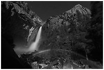 Lunar rainbow, Lower Yosemite Fall. Yosemite National Park, California, USA. (black and white)