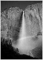 Space rainbow in Upper Yosemite Fall spray. Yosemite National Park, California, USA. (black and white)