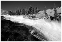 Le Conte falls of the Tuolumne River. Yosemite National Park, California, USA. (black and white)
