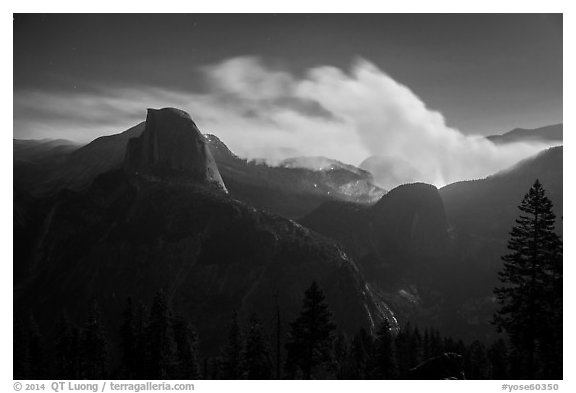Half-Dome and wildfire at night. Yosemite National Park (black and white)