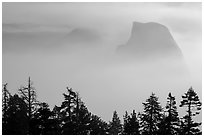Half-Dome and Clouds Rest emerging from smoke. Yosemite National Park ( black and white)