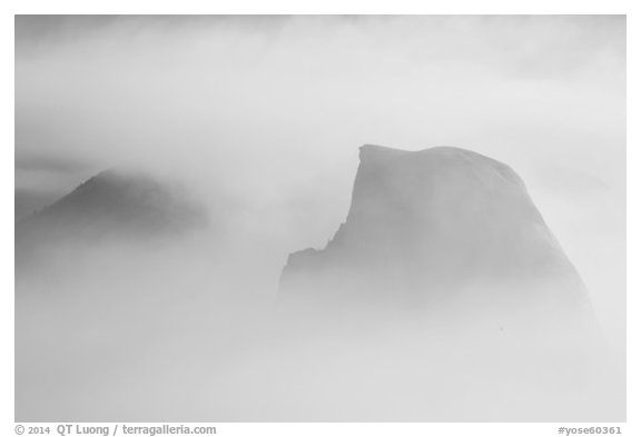 Half-Dome and Clouds Rest in smoke cloud. Yosemite National Park (black and white)