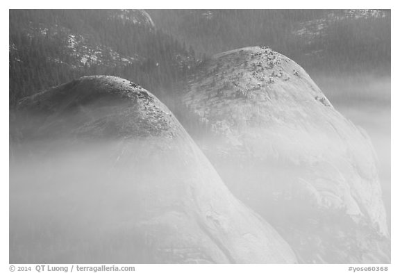 Domes in smoke. Yosemite National Park (black and white)
