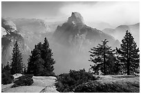 Half Dome from Glacier Point, fog clearing. Yosemite National Park ( black and white)