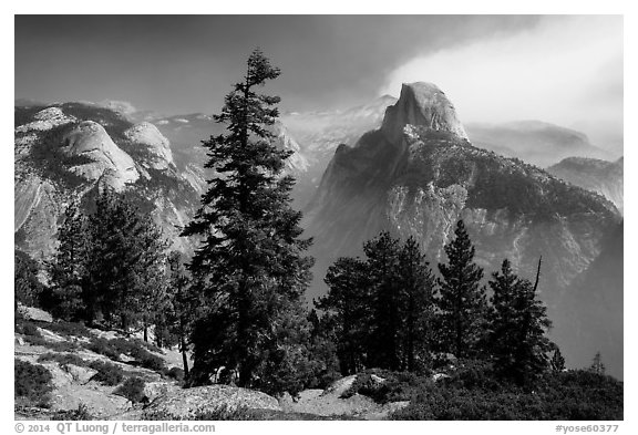 Half Dome from Glacier Point, smoke clearing. Yosemite National Park (black and white)
