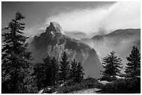 Half Dome from Glacier Point with wildfire. Yosemite National Park ( black and white)